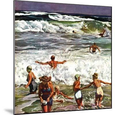 """Surf Swimming,"" August 14, 1948-John Falter-Mounted Premium Giclee Print"