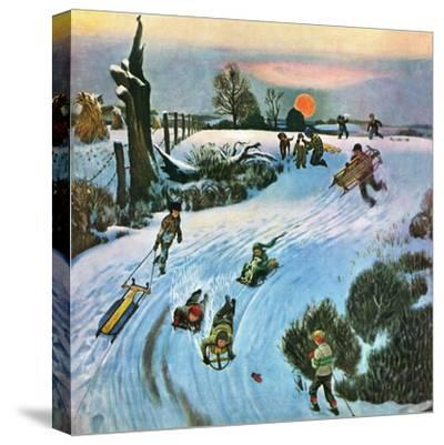 """Sledding by Sunset,"" December 18, 1948-John Falter-Stretched Canvas Print"