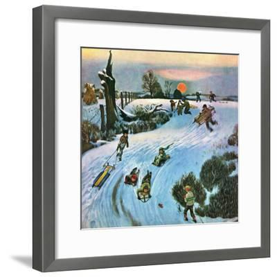 """Sledding by Sunset,"" December 18, 1948-John Falter-Framed Premium Giclee Print"