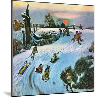 """Sledding by Sunset,"" December 18, 1948-John Falter-Mounted Premium Giclee Print"