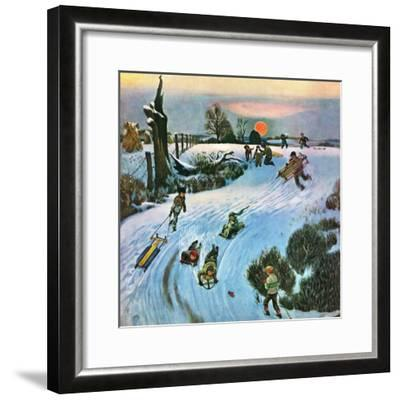 """""""Sledding by Sunset,"""" December 18, 1948-John Falter-Framed Giclee Print"""