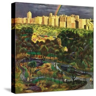 """Central Park Rainbow,"" April 30, 1949-John Falter-Stretched Canvas Print"
