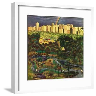 """Central Park Rainbow,"" April 30, 1949-John Falter-Framed Giclee Print"