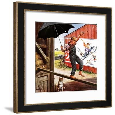 """Walking the Tightrope,"" June 11, 1949-Stevan Dohanos-Framed Giclee Print"