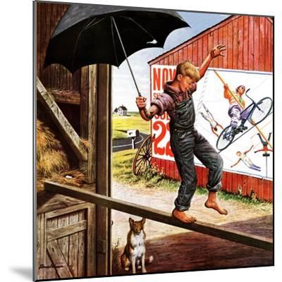 """Walking the Tightrope,"" June 11, 1949-Stevan Dohanos-Mounted Giclee Print"