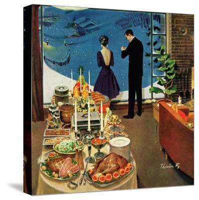 """""""Snow Buffet Party,"""" February 20, 1960-Thornton Utz-Stretched Canvas Print"""