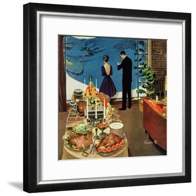 """""""Snow Buffet Party,"""" February 20, 1960-Thornton Utz-Framed Giclee Print"""