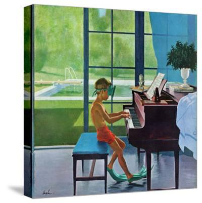 """Poolside Piano Practice,"" June 11, 1960-George Hughes-Stretched Canvas Print"