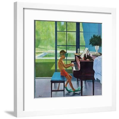 """Poolside Piano Practice,"" June 11, 1960-George Hughes-Framed Premium Giclee Print"