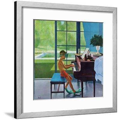 """Poolside Piano Practice,"" June 11, 1960-George Hughes-Framed Premium Giclee Print"