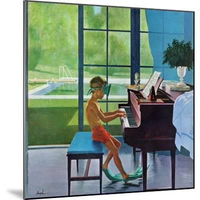 """Poolside Piano Practice,"" June 11, 1960-George Hughes-Mounted Premium Giclee Print"