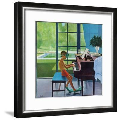 """Poolside Piano Practice,"" June 11, 1960-George Hughes-Framed Giclee Print"