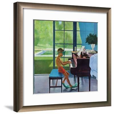 """Poolside Piano Practice,"" June 11, 1960-George Hughes-Framed Giclee Print"