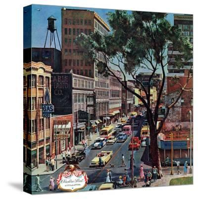 """""""Peachtree Street,"""" June 25, 1960-John Falter-Stretched Canvas Print"""