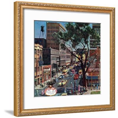 """""""Peachtree Street,"""" June 25, 1960-John Falter-Framed Premium Giclee Print"""