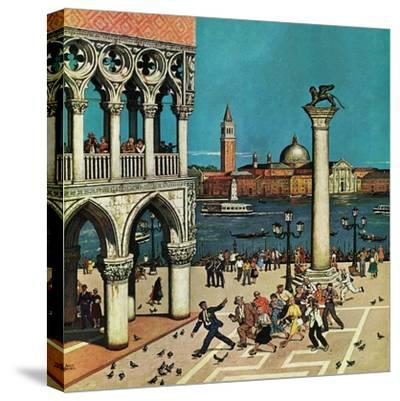 """""""American Tourists in Venice,"""" June 10, 1961-Amos Sewell-Stretched Canvas Print"""