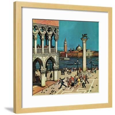 """""""American Tourists in Venice,"""" June 10, 1961-Amos Sewell-Framed Giclee Print"""