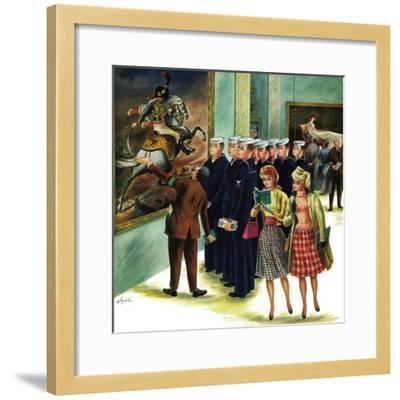 """Girl-Watching Sailors,"" August 12, 1961-Constantin Alajalov-Framed Giclee Print"