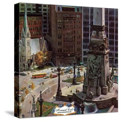 """Monument Circle,"" October 28, 1961-John Falter-Stretched Canvas Print"