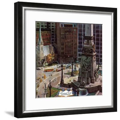 """""""Monument Circle,"""" October 28, 1961-John Falter-Framed Premium Giclee Print"""
