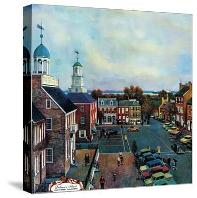 """Town Square, New Castle Delaware,"" March 17, 1962-John Falter-Stretched Canvas Print"