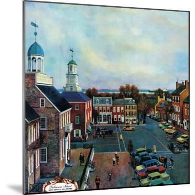 """Town Square, New Castle Delaware,"" March 17, 1962-John Falter-Mounted Premium Giclee Print"