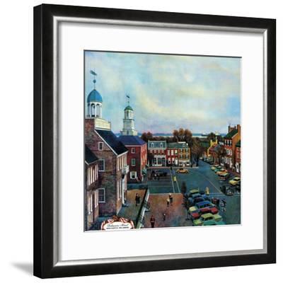 """""""Town Square, New Castle Delaware,"""" March 17, 1962-John Falter-Framed Premium Giclee Print"""