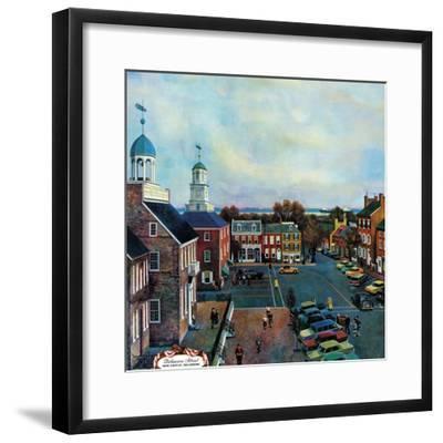 """""""Town Square, New Castle Delaware,"""" March 17, 1962-John Falter-Framed Giclee Print"""