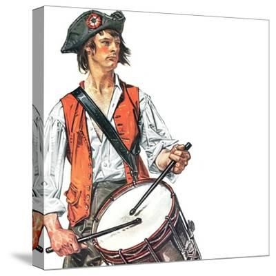 """""""Re-print of """"Colonial Drummer"""","""" July/Aug 1976-Joseph Christian Leyendecker-Stretched Canvas Print"""