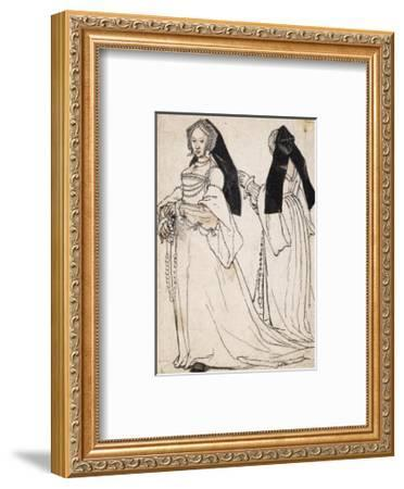Two Views of a Woman Wearing an English Hood-Hans Holbein the Younger-Framed Giclee Print