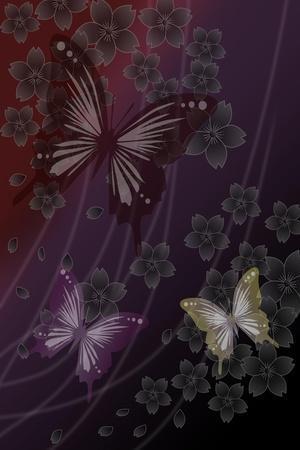 Cherry Blossoms Red-Ikuko Kowada-Stretched Canvas Print