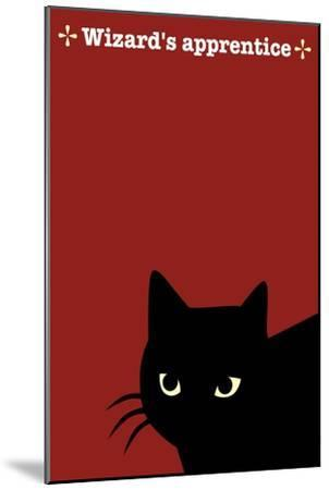 Black Cat in Red-Ikuko Kowada-Mounted Giclee Print