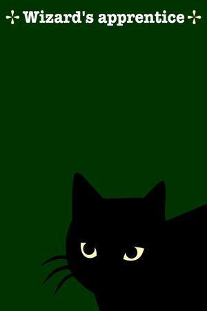Black Cat in Green-Ikuko Kowada-Stretched Canvas Print
