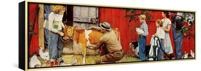 Norman Rockwell Visits a County Agent-Norman Rockwell-Framed Stretched Canvas Print