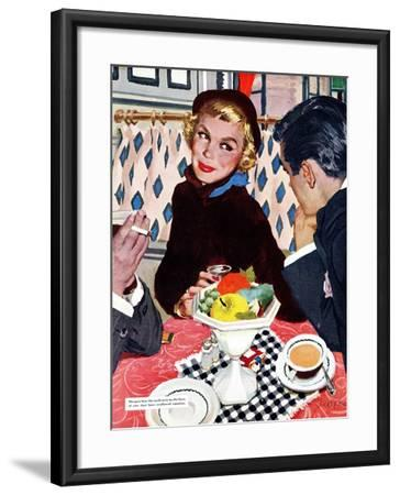 "The Indiscreet Window  - Saturday Evening Post ""Leading Ladies"", January 20, 1951 pg.20-Joe deMers-Framed Giclee Print"