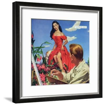 "The Desert Orchird  - Saturday Evening Post ""Leading Ladies"", December 6, 1952 pg.43-Al Buell-Framed Giclee Print"