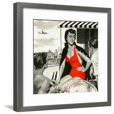 """Red Hot Woman  - Saturday Evening Post """"Leading Ladies"""", May 22, 1954 pg.83-Artist Unkown-Framed Giclee Print"""