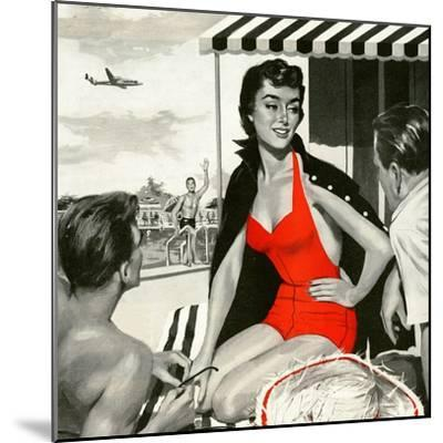 """Red Hot Woman  - Saturday Evening Post """"Leading Ladies"""", May 22, 1954 pg.83-Artist Unkown-Mounted Giclee Print"""