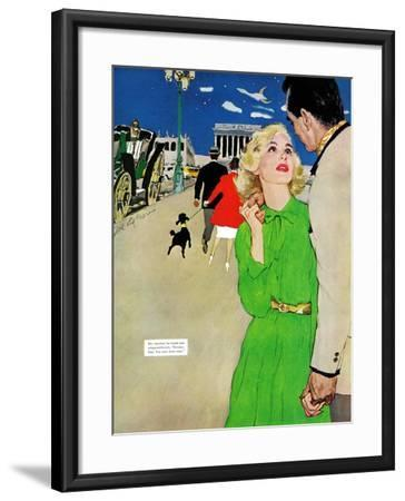 "Fugitive From Romance - Saturday Evening Post ""Leading Ladies"", April 6, 1957 pg.35-Joe deMers-Framed Giclee Print"
