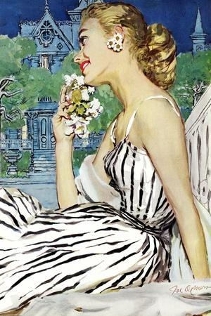 """Walk to the Dance - Saturday Evening Post """"Leading Ladies"""", October 5, 1957 pg.37-Joe deMers-Stretched Canvas Print"""
