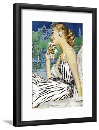 """Walk to the Dance - Saturday Evening Post """"Leading Ladies"""", October 5, 1957 pg.37-Joe deMers-Framed Giclee Print"""
