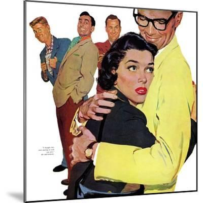 """The Crying Cop - Saturday Evening Post """"Leading Ladies"""", November 2, 1957 pg.37-Mike Ludlow-Mounted Giclee Print"""