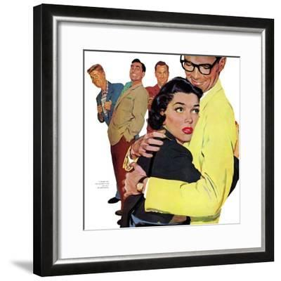 """The Crying Cop - Saturday Evening Post """"Leading Ladies"""", November 2, 1957 pg.37-Mike Ludlow-Framed Giclee Print"""