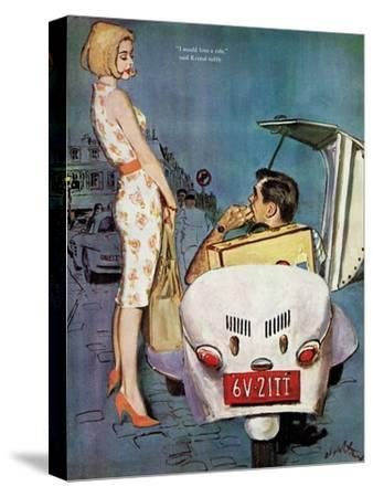 """The Casanova Car - Saturday Evening Post """"Leading Ladies"""", September 5, 1959 pg.34-Coby Whitmore-Stretched Canvas Print"""