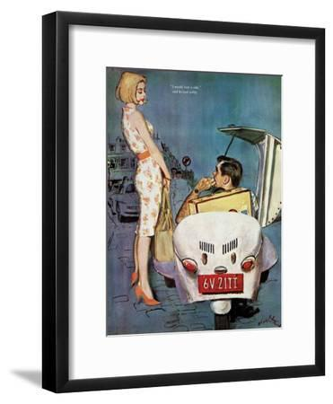 """The Casanova Car - Saturday Evening Post """"Leading Ladies"""", September 5, 1959 pg.34-Coby Whitmore-Framed Giclee Print"""