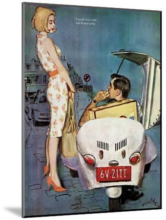 """The Casanova Car - Saturday Evening Post """"Leading Ladies"""", September 5, 1959 pg.34-Coby Whitmore-Mounted Giclee Print"""