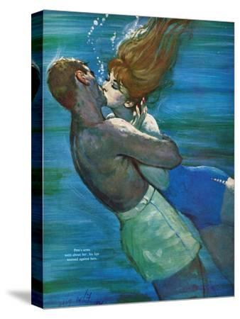 """Love Isn't Logical - Saturday Evening Post """"Leading Ladies"""", December 5, 1959 pg.23-Coby Whitmore-Stretched Canvas Print"""