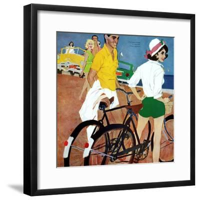 """Too Slow for the Crowd - Saturday Evening Post """"Leading Ladies"""", March 11, 1961 pg.27-Joe deMers-Framed Giclee Print"""