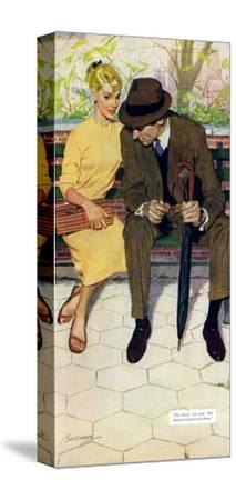 """Women Are Like That - Saturday Evening Post """"Men at the Top"""", January 12, 1957 pg.31-Lynn Buckham-Stretched Canvas Print"""