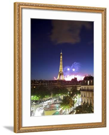 Bastille Day Fireworks, Eiffel Tower, Paris, France-Jon Arnold-Framed Photographic Print